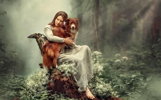 Обои Девушка и собака в лесу, туман, художественная фотография
