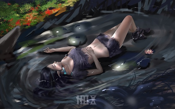 Wallpaper Girl sleep in the water, flowers, art picture