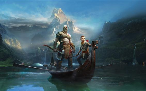 Fondos de pantalla God of War, juego de PS4, bote, río