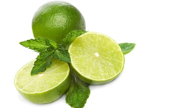 Wallpaper Green lemon, lime, white background