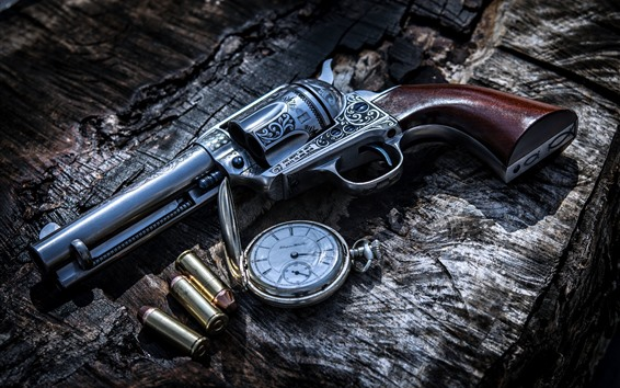 Wallpaper Gun, bullets, weapon, pocket watch