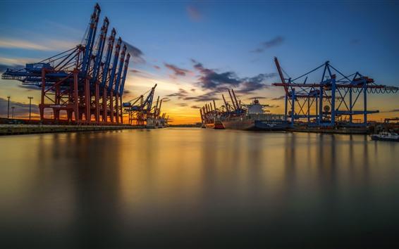 壁紙 ハンブルク、ドイツ、港、海、夕日