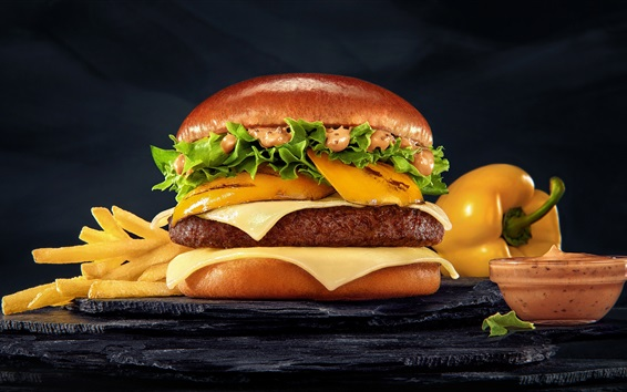 Wallpaper Hamburger, meat, French fries, fast food