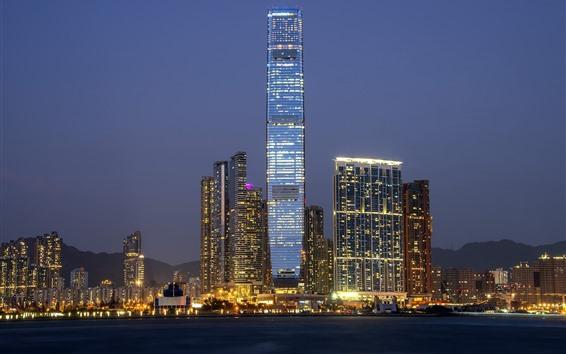 Papéis de Parede Hong kong, china, cidade, arranha-céu, noturna, luzes