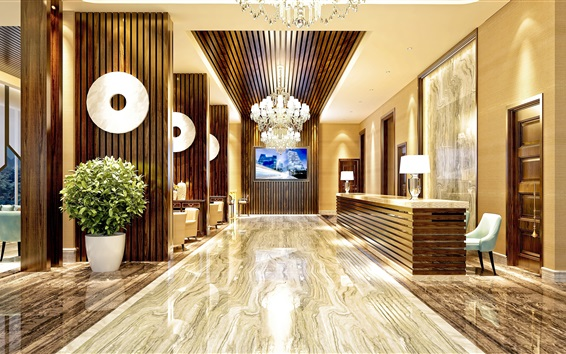 Обои Отель, холл, мебель, интерьер