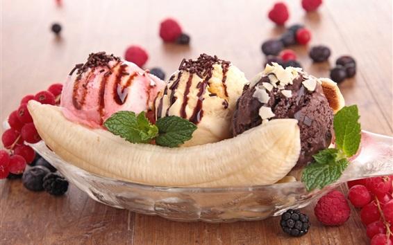 Papéis de Parede Bolas de sorvete, banana, sobremesa de verão