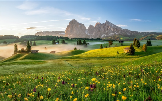 Wallpaper Italy, Alpe di Siusi, Dolomites, village, houses, meadow, mountains, fog