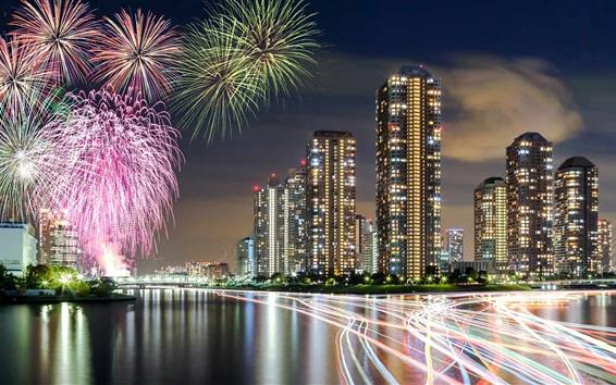 Обои Япония, Токио, фейерверк, небоскребы, ночь, река