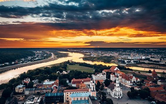 Wallpaper Kaunas, Lithuania, city top view, houses, river, sunset