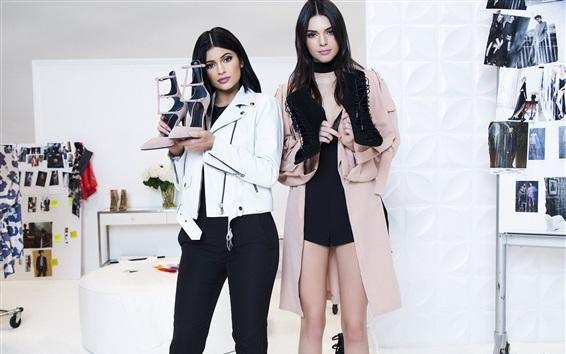 Papéis de Parede Kendall Jenner, Kylie Jenner, duas garotas, publicidade