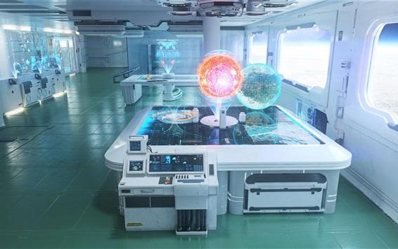 배경 화면 실험실, 우주 정거장, 미래 과학