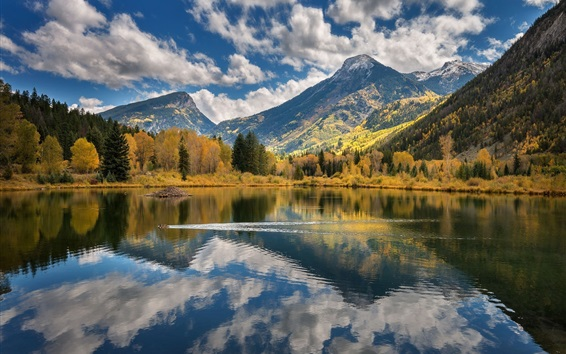 Wallpaper Lake, mountains, trees, clouds, water reflection