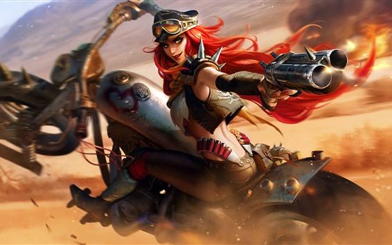 Обои Лига Легенд, Мисс Фортуна, мотоцикл, оружие, художественная фотография