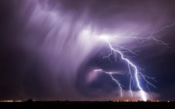 배경 화면 번개, 폭풍, 악천후, 밤