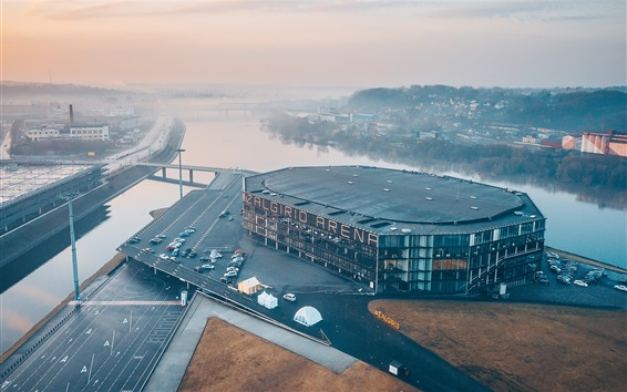 Wallpaper Lithuania, Kaunas, Zalgiris Arena, river, roads, buildings