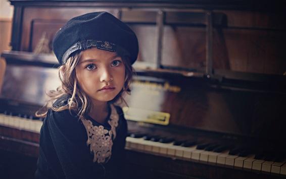 Fondos de pantalla Niña mirarte, piano