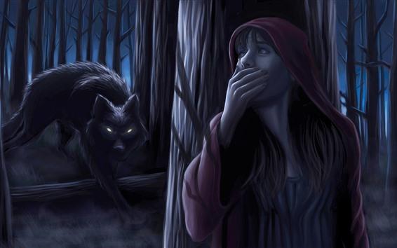 壁紙 赤い乗り物、少女、オオカミ、夜、森、アート写真