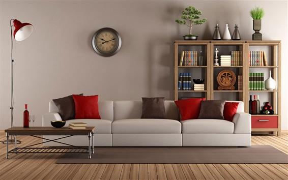 Wallpaper Living room, interior, sofa, books