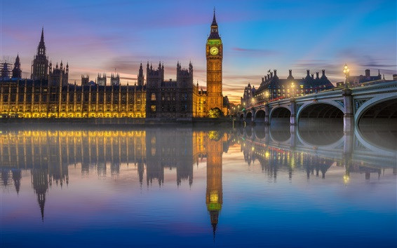 Wallpaper London, river, bridge, Big Ben, lights, fog