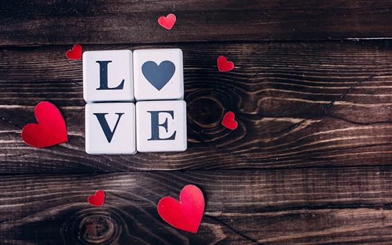 Обои Любовь сердца, кубики, деревянная доска