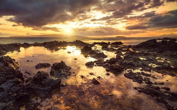 Wallpaper Makena Cove, sea, Hawaii, rocks, clouds, sunset