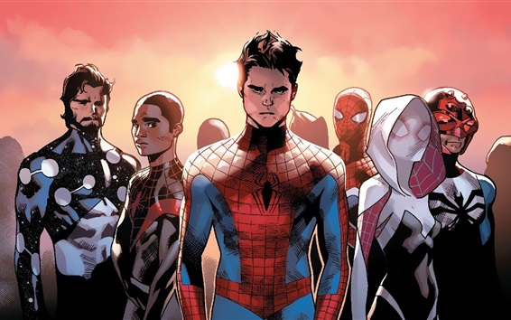 Wallpaper Many Spider-Man, art picture