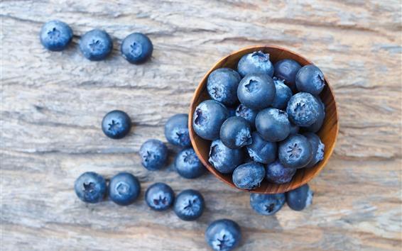 Wallpaper Many blueberries, bowl