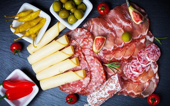 배경 화면 고기, 치즈, 올리브, 소세지, 무화과, 음식