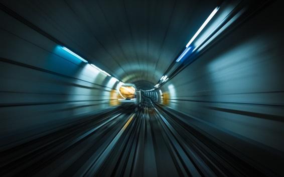Fond d'écran Métro, rails, mouvement, train, vitesse, lumières