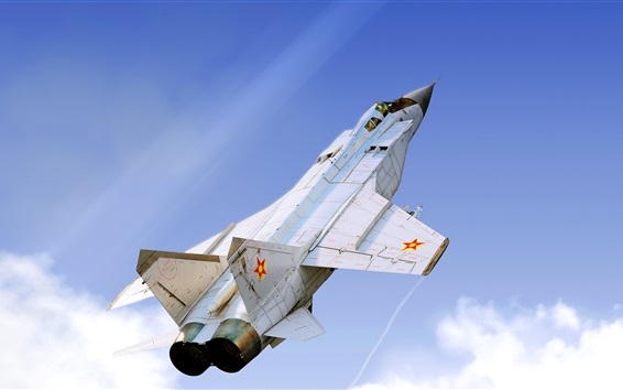 Wallpaper MiG-31B fighter flight, sky