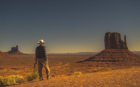 Wallpaper Monument Valley, desert, cowboy, USA