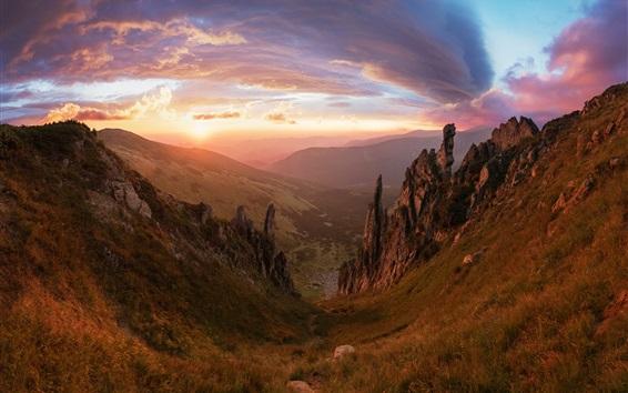 Wallpaper Mountains, hills, canyon, clouds, sunset
