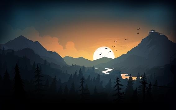 Wallpaper Mountains, hills, sunset, birds, art picture