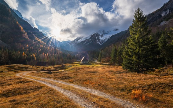 Wallpaper Mountains, trees, houses, path, village, clouds, sun rays