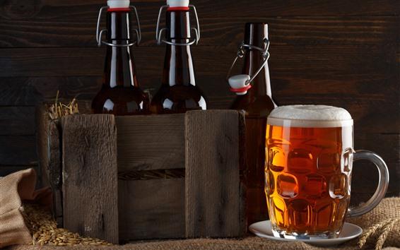壁紙 マグカップ、ビール、泡、ボトル