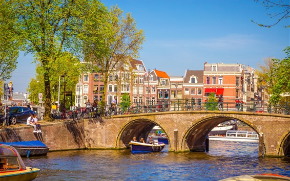 Wallpaper Netherlands, Amsterdam, city, bridge, river, people
