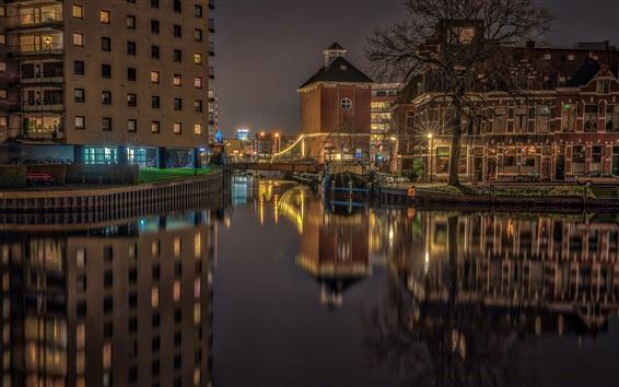배경 화면 네덜란드, 흐로 닝겐, 밤, 다리, 조명, 주택