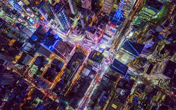 Wallpaper New York, USA, city night, top view, buildings, lights