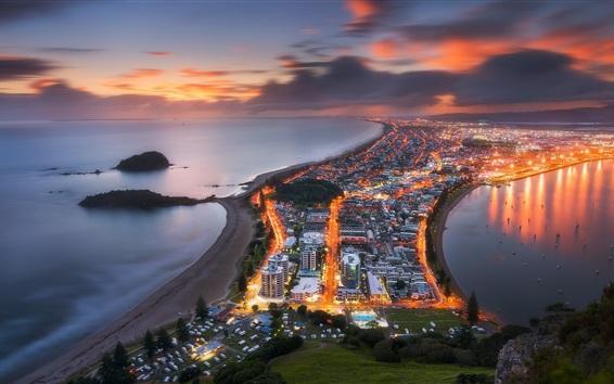 Fond d'écran Nouvelle-Zélande, Tauranga, ville, vue de dessus, lumières, crépuscule, mer