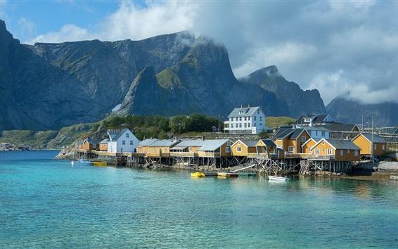 壁紙 ノルウェー、桟橋、住宅、海、山々