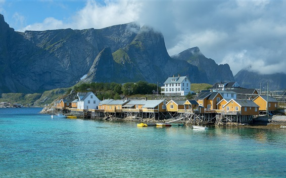 Wallpaper Norway, pier, houses, sea, mountains