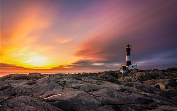 Wallpaper Norway, rocks, lighthouse, clouds, sunset