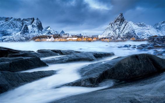 Wallpaper Norway, village, mountains, snow, winter
