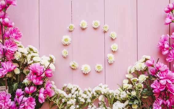 Wallpaper Pink and white flowers, wood background
