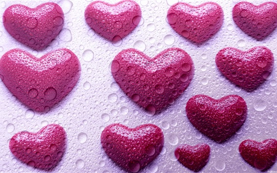 Wallpaper Pink love hearts, water droplets, design