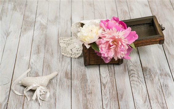 Papéis de Parede Peônias rosa, placa de madeira