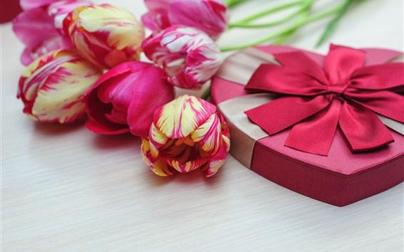 Wallpaper Pink tulips, love heart, gift