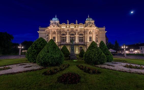 Wallpaper Poland, Krakow, The Theatre Of Julius, night, lights