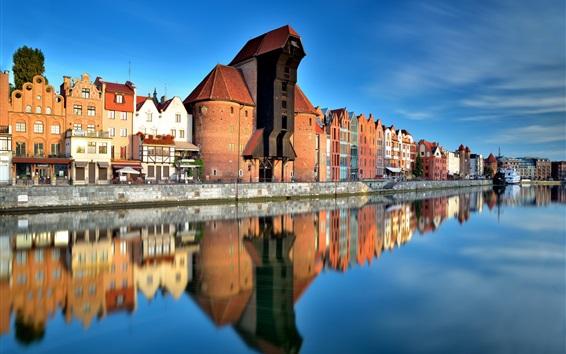 Обои Польша, Старый город, Гданьск, река, город, дома