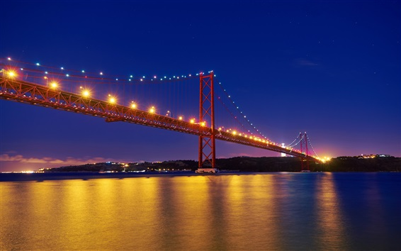 Fond d'écran Portugal, fleuve Tage, 25 avril Pont, Lisbonne, nuit, éclairage